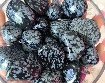 Wholesale Crystals 10 Snowflake BLACK OBSIDIAN Tumbled Stones