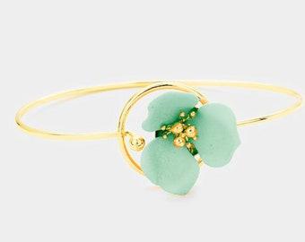 Flower Hook Bracelet Gold/Mint