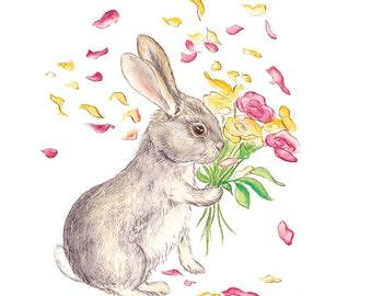 SPRINGTIME Art Print // rabbit, spring, flowers, girls room, bedroom, wall art, decorative print