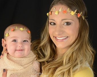 Fall Flower Crown, Fall Floral Crown, Yellow Flower Crown, Orange Flower Crown, Greek Crown, Flower Girl Crown, Bridesmaid Flower Crown