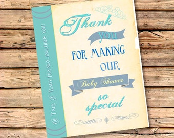 Once Upon A Time Thank You Cards | Free Custom Color | Matching Cards to Invite | Personalized Thank You's | Baby Shower Thanks (Set of 100)