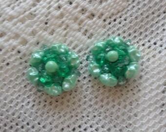 Green Cluster acrylic Earrings.