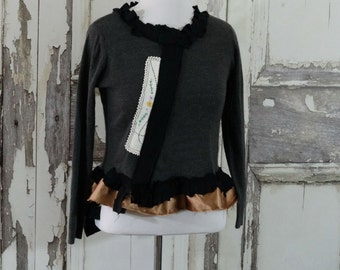 Sale Artsy Upcycled Sweater in Gray and Black, Eco Fashion, Women's, Boho Chic, Steampunk Style,Shabby Chic