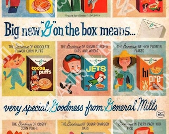 General Mills 1960 Cereal Ad 2 x 3 Fridge Magnet