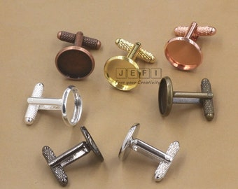 20 Cufflinks- Brass Bronze/ Silver/ Gold/ Rose Gold/ Platinum/ Gun-Metal Plated Cufflink W/ 12mm/ 14mm/ 16mm/ 18mm/ 20mm Round Bezel Setting