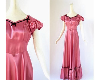 1940s Satin Dress | Pink Satin Dress | 40s Gown | Small S