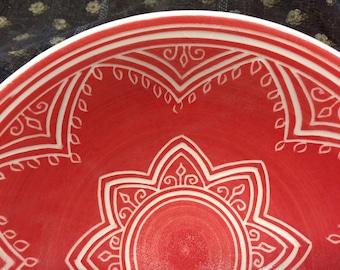 Red Mandala Carved Porcelain Serving Bowl