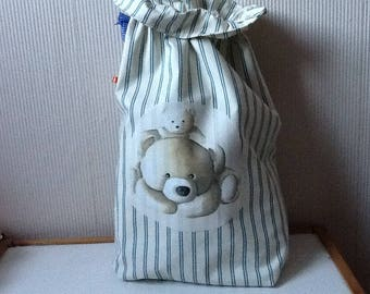 Large pouch unbleached cotton striped blue Teddy on one side
