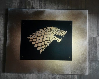 Set of 3 reusable plastic Stencils Wall decor/ Game Of Thrones/ Winter is Coming, Stark