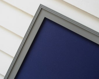 Boys Magnet Board - Bulletin Board Framed Magnetic Board in Navy with Charcoal Grey Frame 20.5 x 26.5 - Memo Board with Fabric