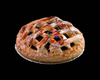 Dollhouse Miniatures Handcrafted Clay Sugar Icing Blueberry Round Deep Filled Lattice Pie on Aluminum Dish - 1:12 Scale