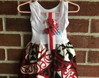 Pouli Red Tahitian Dress/ Hawaiian Dress/ Baby Girls Dress