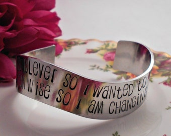 Zenned out RUMI Quote Cuff Bracelet - Yesterday I was clever so I wanted to change the world - Boho Chic Style - Custom - Add a Name/Date