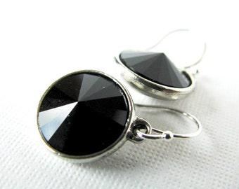 Jet Setter - Swarovski Rivoli Rhinestone Drop Earrings in Jet Black - With Silver Plated Settings, Bridesmaid Jewelry, Everyday Glamour