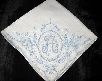 Something Old New Borrowed Blue, Monogram Initial A B R M N S K G L or E Handkerchief Wedding Hankie Vintage Embroidered