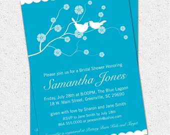Printable Bridal Shower Invitation Cherry Blossom, Love Birds, pick your COLOR Blue Turquoise Teal Personalized DIY Digital File