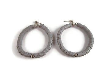 Gray Polymer Clay Hoop Earrings