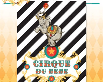 Circus Baby Shower Poster - Vintage Cirque du Bebe Backdrop Poster Art - Made to Order - Art Print in Original Colors