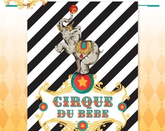 Bébé douche affiche de cirque - Cirque du Bebe Vintage Art de l'affiche des toile de fond - sur commande - Art Print dans les couleurs d'origine