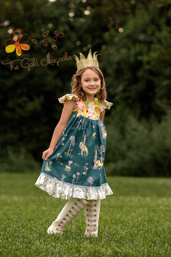 Girls Unicorn Dress – Unicorn Dress – Unicorn Birthday - Flutter Sleeve Dress – Back To School Dress – Girls Gold Floral Dress – Lace Dress