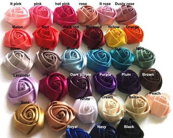 30% WHOLESALE Satin Roses Satin Rosettes Vintage Roses Wedding Roses Flowers Beautiful Rolled Satin Rosettes Embellishments Wedding Accent
