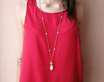 White agate necklace, bronze necklace, hippie necklace, opalite necklace, white agate pendant, long, mother's day, bronze chain, boho