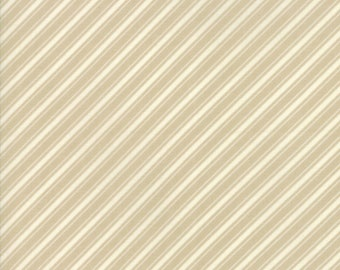 Ella and Ollie - Ticking Stripe in Cobblestone Tan : sku 20306-27 cotton quilting fabric by Fig Tree and Co. for Moda Fabrics