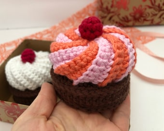 Pretend Play Cupcake Crocheted Sweets Montessori Kitchen Toy Cupcake Amigurumi Cupcake Play Food Cupcake Wedding Favors Wedding Decoration