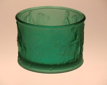 Czech Bohemian Inwald Teplice Art Glass Green Bowl with Horses