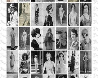 1920's Women Digital Download Collage Sheet 1 x 2 inch