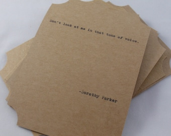 The DOROTHY PARKER COLLECTION--Quote Cards -- Five Hand-Made Art Typography Letterpress Cards