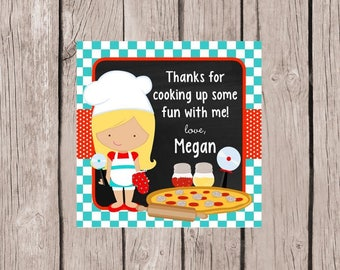 PRINTABLE Cooking Birthday Party Favor Tags / Little Chef Pizza Party for Boy or Girl Choose Hair & Skin Color / Cooking Party / You Print