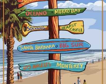 Pismo Beach, California - Destinations Sign - Lantern Press Artwork (Art Print - Multiple Sizes Available)