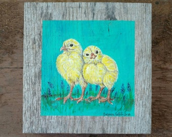 Baby Chicks Painting on Antique Barn Wood, Original Rooster Art by Susana Caban
