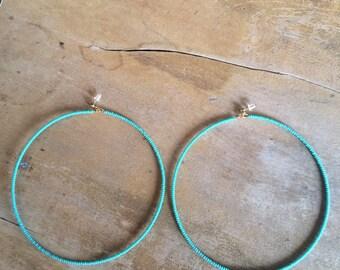 Turquoise X-Large Seed Bead Hoop Earrings