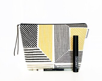 Retro Makeup bag, Grey Yellow zipper pouch, Pencil case, Graphic Toiletry case, Large make up bag, Wash bag, Cosmetic case, School supplies