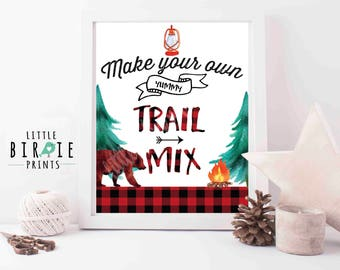 Lumberjack Trail Mix Bar Sign Lumberjack First birthday party sign Bear first birthday party sign Trail Mix bar make your own trail mix