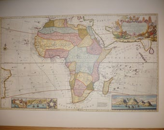 Africa by Herman Moll 1710 Antique World Map 1989 Wall Art Historical Colour Color Map Print Home Decor Cartography