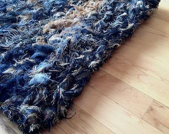 Blue & Gold Starry Night Rag Rug, celestial, upcycled Pendleton, home decor, astronomy, eco friendly, rustic decor, wool rug, crochet