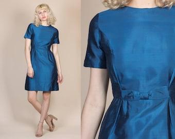 60s Silk Party Dress - Small // Vintage Blue Bow Short Sleeve Mini