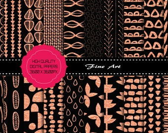 Buy 3 get one free. Rose Gold Patterned Digital Papers, High Resolution Printable Papers, Instant Download, Commercial Use OK.