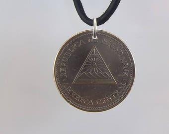 Nicaragua Coin Necklace, 5 Cordoba, Coin Pendant, Mens Necklace, Womens Necklace, Leather Cord, Birth Year, 2000
