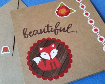 Beautiful Handmade Blank Card - Recycled Kraft Paper Square Greeting Card with fox, flowers, and starbursts