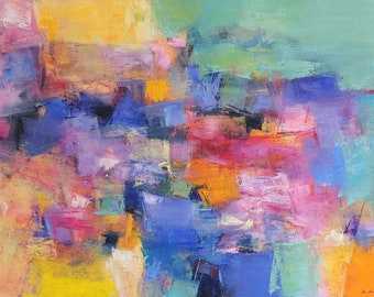 May 2018 - 3 - Original Abstract Oil Painting - 60.6 cm x 41.0 cm (app. 24 inch x 16 inch)