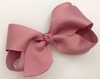 """Mauve Hair Bow Mauve Easter Bow Mauve Baby Bow Headband Toddler Girl Hair Bow Rose Mauve Bow School Bow Hair Clip-Medium 4"""" Boutique Bow"""