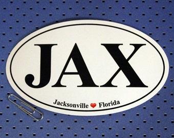 Jacksonville, Florida (JAX) Oval Bumper Sticker