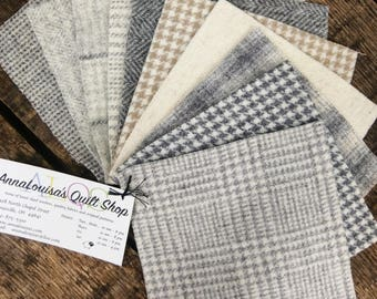 """100% Felted Wool 5"""" Squares Pack of 10 in Assorted Neutrals"""