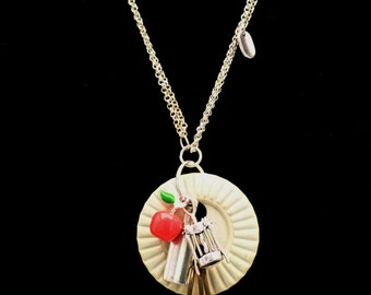 Vintage Button Necklace with Wine and Dessert Cluster, N1015