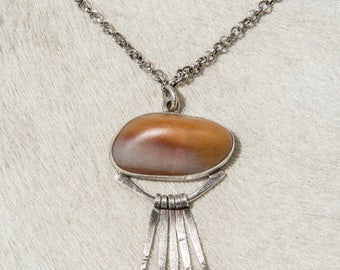 Stone Pendant Silver Feather Necklace