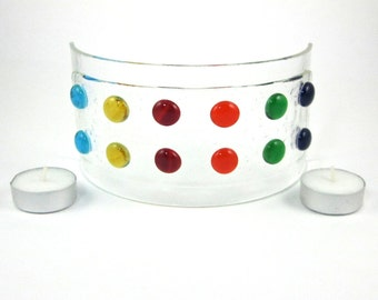 Colorful Polka Dot Candle Screen - Fused Glass Candle Holder - Rainbow Colored Glass Candle Luminarie - Candle Cover